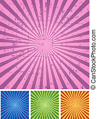 Retro Radial Background in four color sets