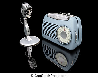 Retro radio and mike - 3D render of retro radio and...