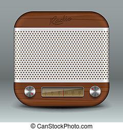 Retro radio app icon, vector Eps10 image.