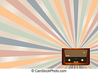 retro radio background - retro background with old radio and...