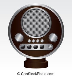Retro radio brown illustration