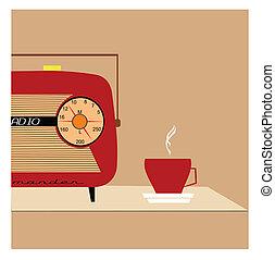 retro radio concept - half radio on table with coffee...