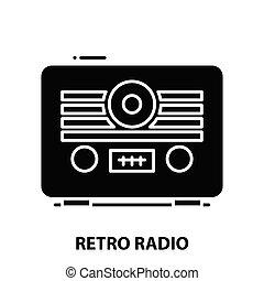 retro radio icon, black vector sign with editable strokes, concept illustration