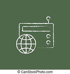 Retro radio icon drawn in chalk.