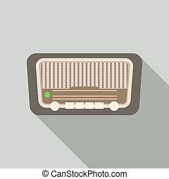 Retro radio icon, flat style