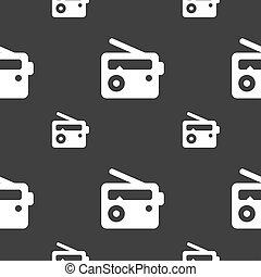 Retro Radio icon sign. Seamless pattern on a gray background.