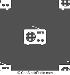 Retro radio icon sign. Seamless pattern on a gray background. Vector