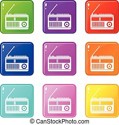 Retro radio icons 9 set
