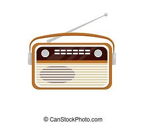 Retro radio isolated on white background.