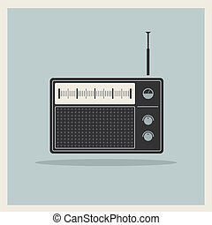 retro, radio, receptor, vector