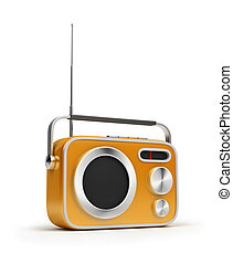 retro radio - Retro of radio of yellow colour. 3d image. ...