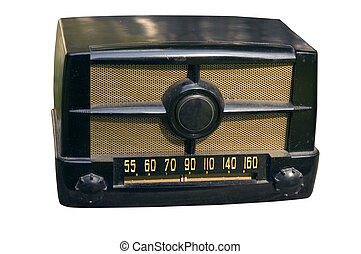 small 1940's table radio with clipping path