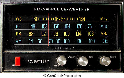 the frequency screen of a fantastic looking retro transistor radio