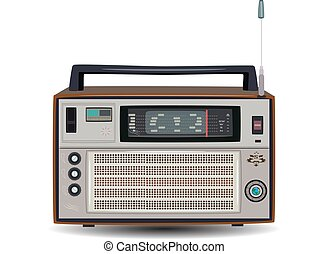 Retro radio, vector illustration in flat style