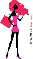 retro, ragazza, shopping, silhouette, isolato, bianco