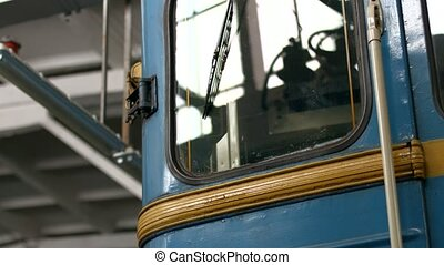 Retro railway carriage. Scrap metal. Old subway car....