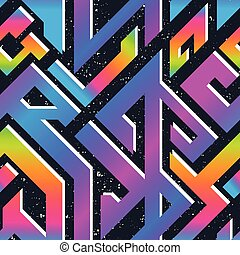 Retro rainbow geometric pattern with grunge effect
