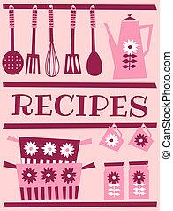 Retro Recipe Card - Illustration of kitchen accessories in...