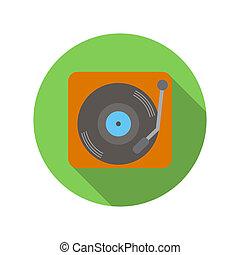 Retro record player flat icon