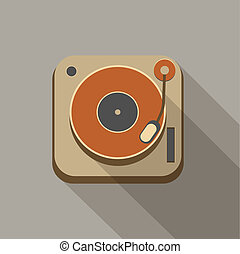 Retro record player icons - Retro vintage record player...