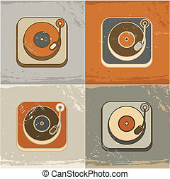 Retro record player icons - Retro vintage record player ...