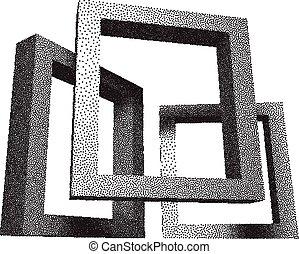 Retro rectangular frames with dotwork shadows