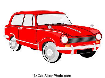 Retro red car.