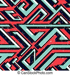 Retro red color geometric seamless pattern