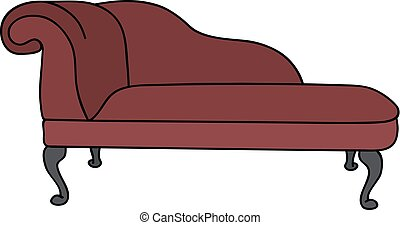 Retro red divan - Hand drawing of a historical dark red sofa