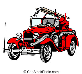 Retro red firetruck - Vector illustration of red retro...