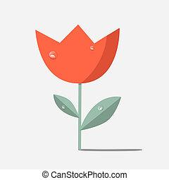Retro Red Flower Tulip Illustration