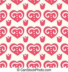 Retro red folk heart seamless pattern