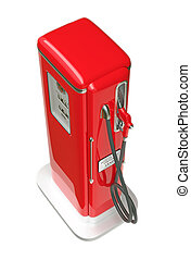 Retro red gasoline pump isolated over white background. Top...