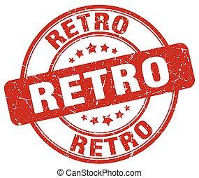retro red grunge round vintage rubber stamp