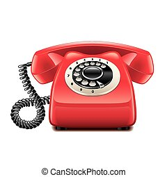 Retro red phone isolated on white vector