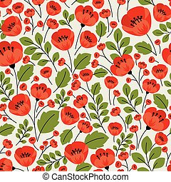 Retro red poppies seamless pattern - Red poppies seamless ...
