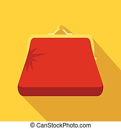 Retro red purse icon, flat style