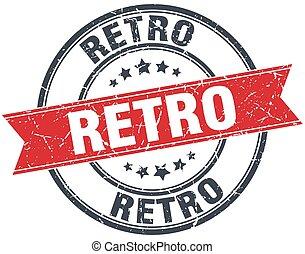 retro red round grunge vintage ribbon stamp