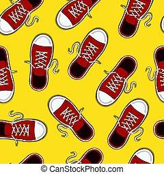 Retro red sneaker shoe seamless pattern