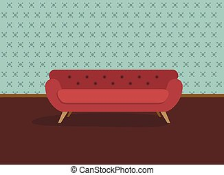 Retro red sofa and wall paper. Flat design