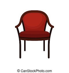 Retro red soft classic chair, comfortable furniture, element for home interior vector Illustration on a white background