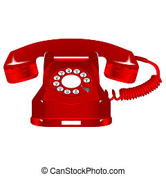 retro red telephone against white background, abstract art...