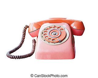 retro red telephone isolated on white background