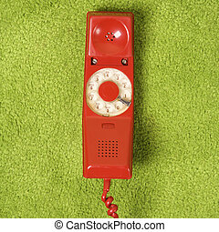 Retro red telephone.