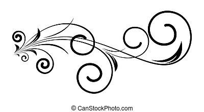 retro, redemoinho, flora, arte, desenho