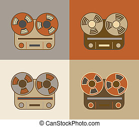 Retro reel to reel tape recorder icon
