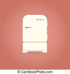 Retro refrigerator flat icon.