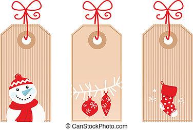 retro, regalo de navidad, etiquetas, aislado, blanco, (, rojo, )