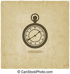 retro, relógio bolso, antigas, fundo