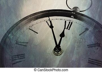 retro, relógio, com, cinco, minutos, antes de, doze